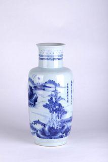 A Blue and White Landscape Porcelain Vase