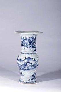 A Blue and White Landscape and Figure Porcelain Beaker Vase