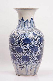 A Blue and White Interlocking Flower Porcelain Vase