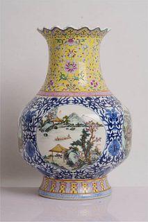 An Enamel Blue and White Landscape Porcelain Vase