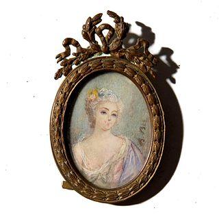 19th Century Miniature Portrait Painting of Woman