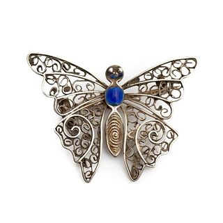 Sterling Silver and Enameled Butterfly Pin brooch
