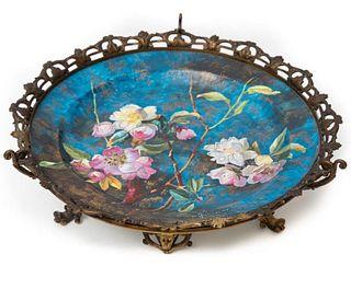Porcelain & Gilt Metal Floral Motif Centerpiece