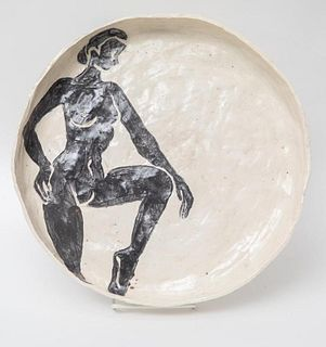 Picasso Style Vintage Round Ceramic Charger