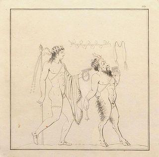 4 classic mythological style engravings