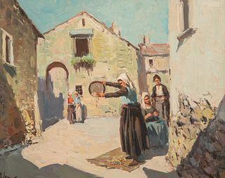 Framed Oil canvas of village scene in Garno