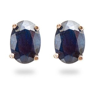 14K Gold and Sapphire Stud Earrings