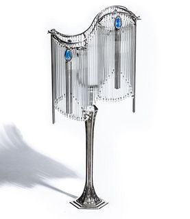 Art Nouveau Signed Hector Guimard Lamp with Nickel Finish