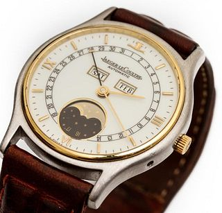 Jaguer LeCoutre 18K yellow gold and stainless steel automatic watch with day, date and moon phase