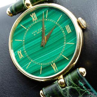 Van Cleef & Arpels 18K Yellow Gold Wristwatch With Malachite Dial