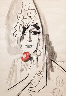 """""""Kees Van Dongen"""" watercolor portrait"""
