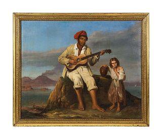 "Italian School, 19th Century, ""Fisherman from Naples"" Oil on Canvas Painting C. 1890"