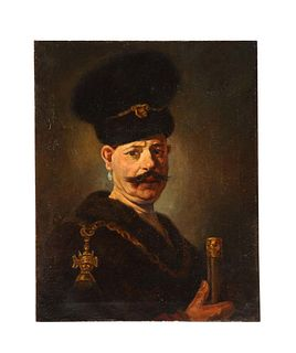 (After) Rembrandt, A Polish Nobleman, Oil on Canvas Painting, 19th Century