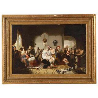 "Sir William Allan (British 1782-1850) ""Circassian Captives"" Oil Board Painting"