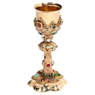 American 14 Karat Yellow Gold and Semi Precious Stone Miniature Chalice Cup
