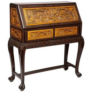 Chinese Export Carved Figural Hard Wood Desk Cabinet, Late 19th Century