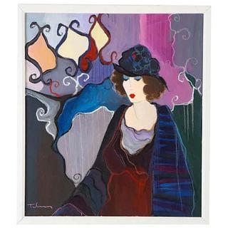 "Itzchak Tarkay (Israel, 1935-2012) ""Peaceful Afternoon"" Oil on Canvas Painting"