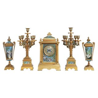 French Bronze and Champleve Cloisonne Enamel Five-Piece Clock Garniture Set