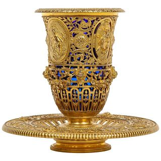 Louis Constant Sévin & F. Barbedienne, a Rare Ormolu and Blue Glass Centerpiece