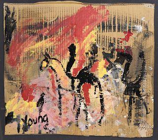 Purvis Young 'Men on Horseback' Oil on Cardboard