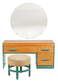 Donald Deskey Vanity, Mirror & Stool