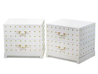 Pair Tommi Parzinger Studded Bedside Dressers