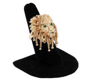 14K YG Articulated Lion's Head Ring