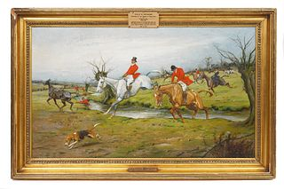 George Wright 'Fox Hunting' Oil on Canvas Painting