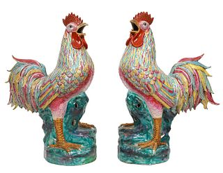 LARGE Pair Chinese Famille Rose Porcelain Roosters