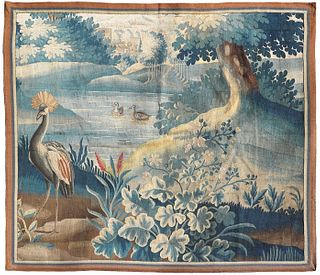 18th C. Flemish Verdure Vibrant Tapestry