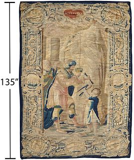 17/18th C. Large Flemish Tapestry 'SCVLPTVRA'