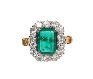 Columbian Emerald & Diamond Halo Ring w/ GIA Cert