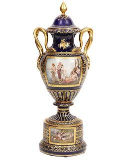 Dresden Porcelain Cobalt & Gilt Lidded Urn