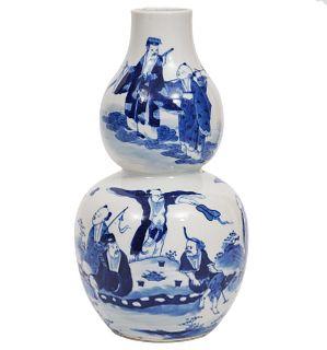 Chinese Blue & White Double Gourd Porcelain Vase