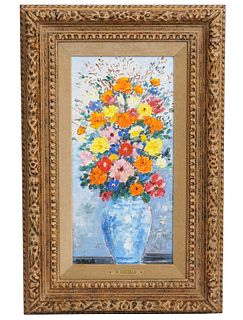 Michele Cascella 'Bouquet with Chinese Vase' O/B