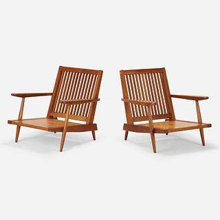 George Nakashima, Cushion armchairs, pair