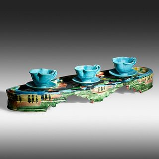 Betty Woodman, Untitled (tray, three cups and saucers)