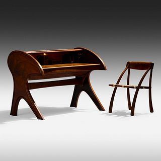 Arthur Espenet Carpenter, Roll-Top desk and Wishbone chair