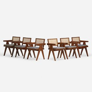Pierre Jeanneret, Office Cane chairs from Chandigarh, set of six