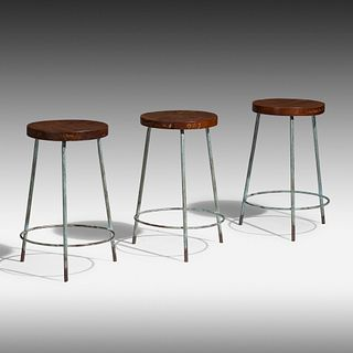 Pierre Jeanneret, Stools from Science Department of Punjab University, Chandigarh, set of three