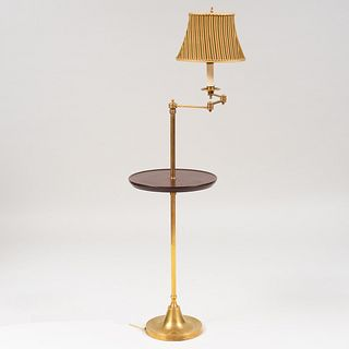 Modern Mahogany and Brass Side Table Floor Lamp