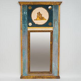 Louis XVI Provincial Painted and Parcel-Gilt Trumeau Mirror