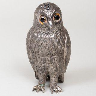 Silvered Metal Owl Form Caster