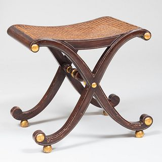 Regency Style Faux Grained and Parcel Gilt X-Form Stool