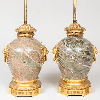 Pair of Louis XVI Style Ormolu-Mounted Marble Lamps