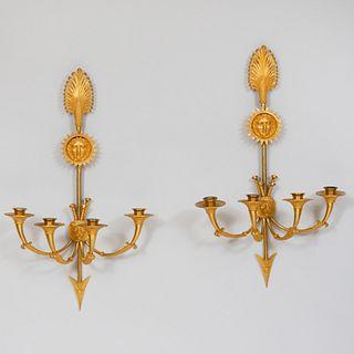 Pair of Empire Style Ormolu Four-Light Sconces