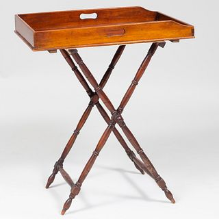 English Mahogany Butlers Tray on Stand