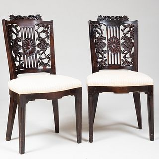 Pair of Continental Stained Oak Side Chairs, possibly North Italian