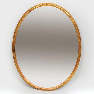 Modern Giltwood Oval Mirror