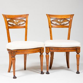 Pair of Biedermeier Fruitwood and Parcel-Gilt Side Chairs